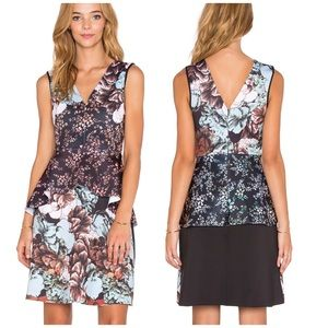 Clover Canyon floral sunset peplum cocktail dress